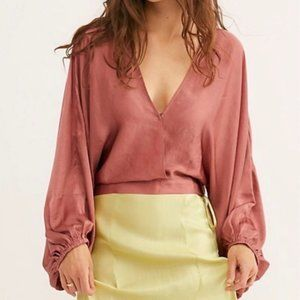 FREE PEOPLE Silky Midnight Vibes Surplice Blouse